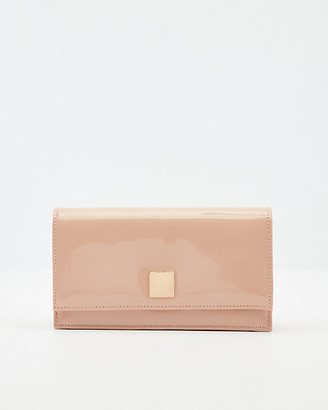 Le Château Patent Faux Leather Flapover Clutch