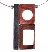 Shagwear Women's Modern Wooden Abstract Pendant w/ 2 Gold Beads Necklace