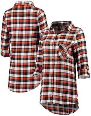 Unbranded Women's Concepts Sport Black/Orange Cincinnati Bengals Piedmont Flannel Button-Up Long Sleeve Shirt