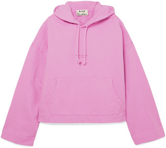 Acne Studios Joghy Cropped Printed French Cotton-terry Hoodie