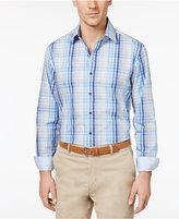 Tasso Elba Men's 100% Cotton Sateen Plaid Shirt, Only at Macy's