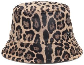 Maison Michel Souna leopard-print calf hair bucket hat