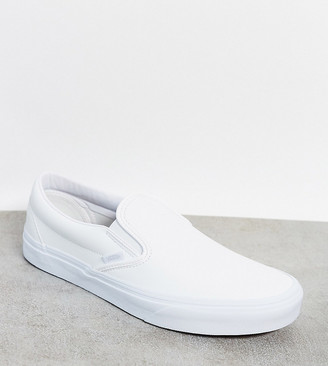 Vans Classic Slip-On trainer in white faux leather Exclusive at ASOS