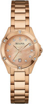 Bulova 28mm Rose Golden Bracelet Watch w/ Diamonds