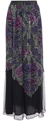 Just Cavalli Point D'esprit-paneled Shirred Printed Georgette Maxi Skirt