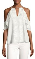 Parker Roma Embroidered Floral Cold-Shoulder Top, Ivory