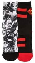 Superman Boys' 2-Pack Crew Sock - Black/White