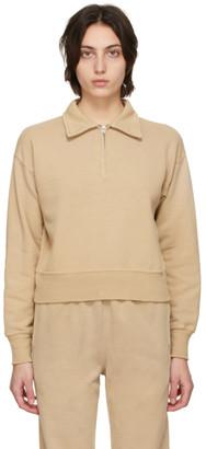 RE/DONE Beige Hanes Edition 70s Half-Zip Sweatshirt