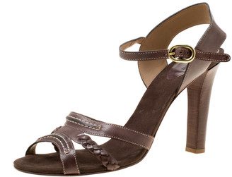 Chloé Brown Leather Braid Detail Ankle Strap Sandals Size 42