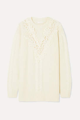 See by Chloe Guipure Lace-trimmed Cable-knit Wool-blend Sweater - Cream