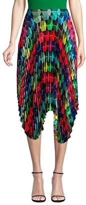 Milly Pleated Geo Print Skirt