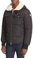 Moncler Men's Darwin Genuine Shearling Trim Hooded Down Jacket