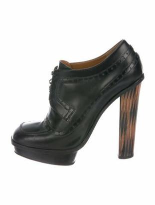 Fendi Leather Lace-Up Boots Black