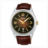Pulsar Men's Traditional Brown Leather Strap Watch PS9485
