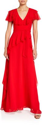 Shani V-Neck Ruffle Georgette Flutter-Sleeve Gown