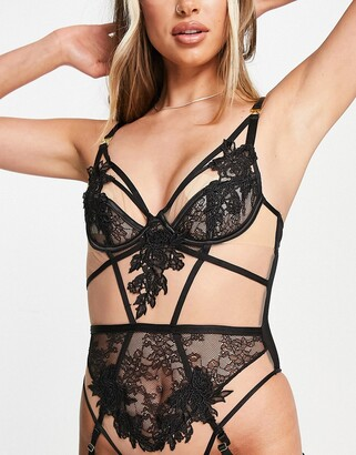 Ann Summers Sensual One sheer mesh and lace applique bodysuit with removable suspender detail