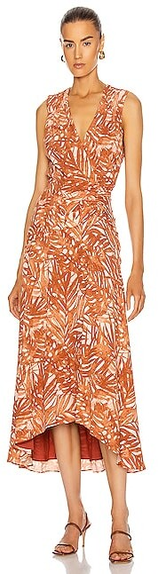 Jonathan Simkhai Priscilla Sleeveless Ruched Midi Dress in Abstract,Brown,Orange,Tropical