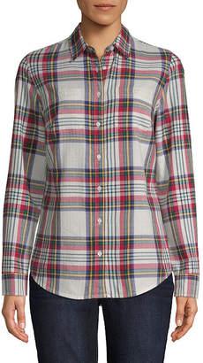 ST. JOHN'S BAY Tall Womens Long Sleeve Regular Fit Button-Front Shirt