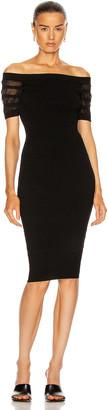Cushnie Off the Shoulder Knit Pencil Dress in Black | FWRD