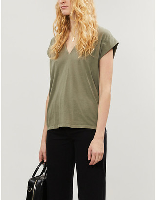 Frame Le Mid Rise V-neck cotton-jersey T-shirt
