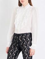 Temperley London Ruffle-detailed cotton and silk-blend shirt