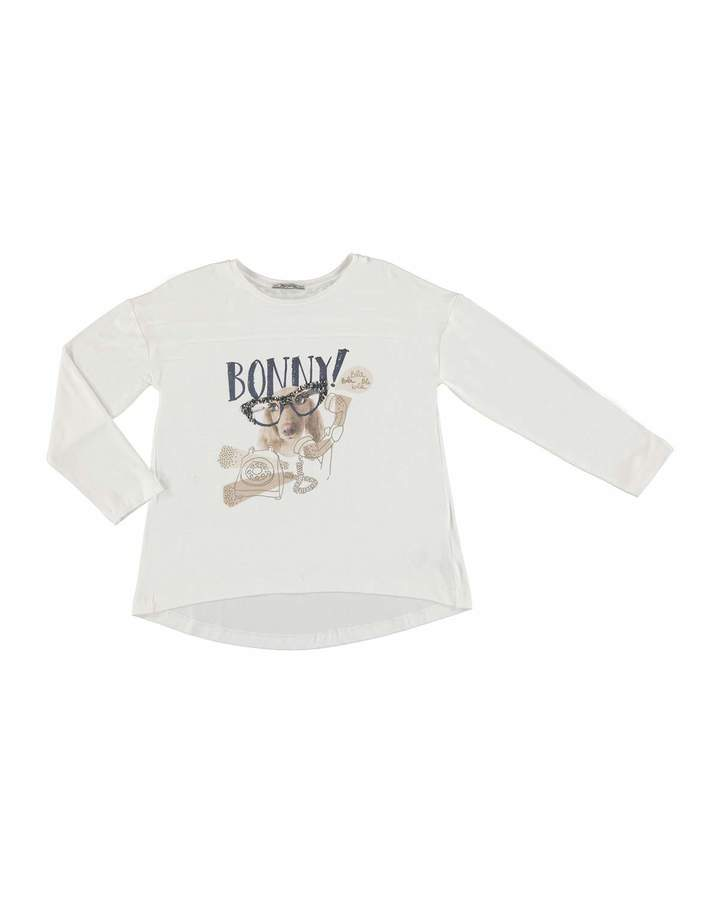 Mayoral Puppy w/ Glasses Graphic T-shirt, Beige, Size 8-16