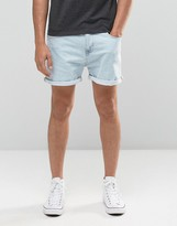 Asos Denim Shorts In Stretch Slim Bleach Blue