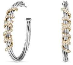 David Yurman Helena Large Hoop Earrings With Diamonds And 18K Gold