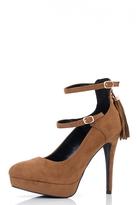 Quiz Tan Double Strap Tassel Detail Platform Shoes