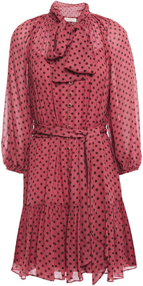 Zimmermann Espionage Pussy-bow Polka-dot Georgette Mini Dress