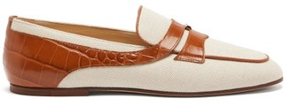 Tod's Crocodile-effect Leather-trimmed Canvas Loafers - Tan White