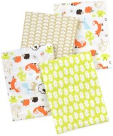 Carter's 4 Piece Flannel Receiving Blankets, Fox/Beige/Orange/Green