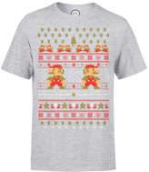 Nintendo Super Mario Mario Ho Ho Ho It's A Me Christmas Grey T-Shirt