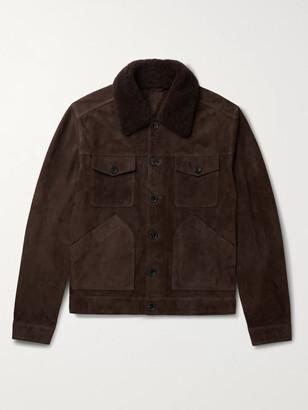 Mr P. Shearling-Trimmed Suede Trucker Jacket