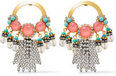 Thumbnail for your product : Elizabeth Cole 24-karat Gold And Hematite-plated, Crystal And Stone Earrings
