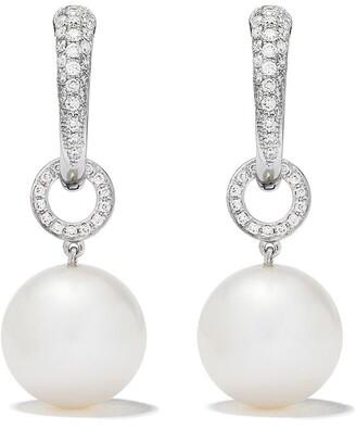 Kiki McDonough 18kt white gold Pearl Ball drop and diamond tapered hoop earrings