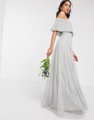 Beauut embellished bardot maxi dress in light grey