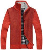 Flyme® Men's Wool Zipper Cardigan Sweater,Warm Thick Velvet Sweater (L, )