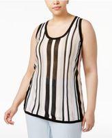 Anne Klein Plus Size Striped Knit Shell