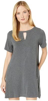 Donna Karan Sleepwear Modal Spandex Jersey Short Sleeve Sleepshirt (Charcoal Heather) Women's Pajama