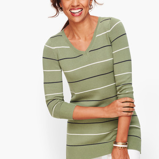 Talbots Double V Tie Back Sweater - Stripe