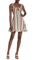 Angie Lace-Up Stripe Print Mini Dress
