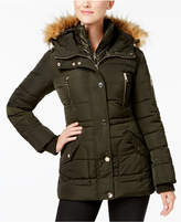 GUESS Faux-Fur-Trim Layered Puffer Coat