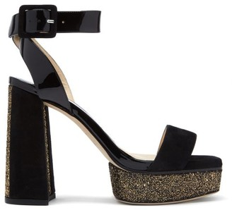 Jimmy Choo Jax 115 Leather Platform Sandals - Black