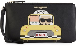 Karl Lagerfeld Paris Faux Pearl Embellished Taxi Graphic Wristlet