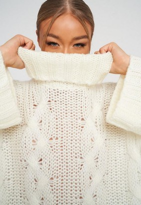 Missguided Cable Knit Extreme Oversized Roll Neck Jumper