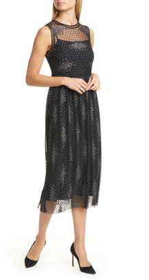 BOSS Delyssa Metallic Detail Lace Sleeveless Dress