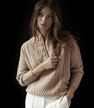 Reiss Ali - Cable Knit Jumper in Camel