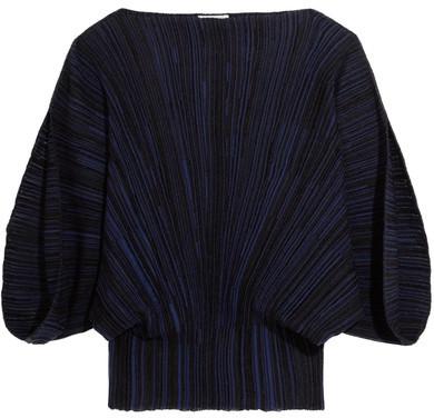Sonia Rykiel Plissé Stretch-knit Top - Blue