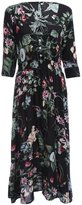 Ourdream Women Elegant Retro Half Sleeve Dress Button-up Floral Print Summer Chiffon Long Dresses